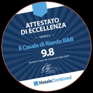 Il Casale di Riardo. Attestato di eccellenza Hotels Combined.